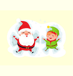 santa and elf cartoon character having fun in snow vector image