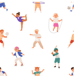 seamless pattern with healthy sports activities vector image