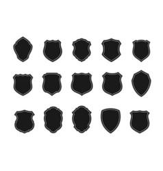 set black badges in shape shields vector image