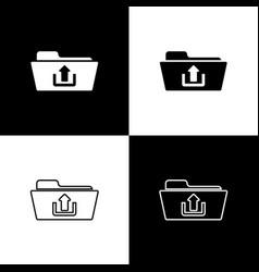 set folder upload icons isolated on black and vector image