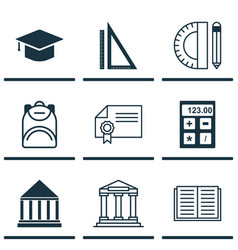 Set of 9 school icons includes graduation vector