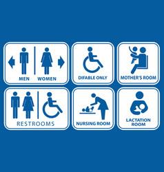 set restroom nursing room lactation room vector image