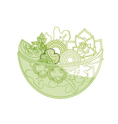 Silhouette delicious fresh organ salad in the bowl vector