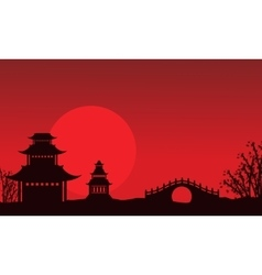 Silhouette of pavilion and bridge Chinese theme vector