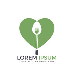 spoon and heart restaurant logo design vector image