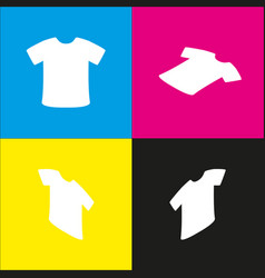 T-shirt sign white icon with isometric vector