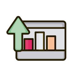 tablet statistics diagram up arrow business vector image