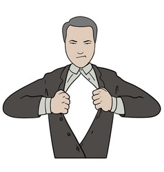 Tearing shirt businessman vector image