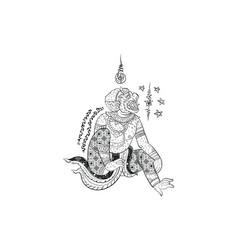 Thai traditional painting tattoo hanuman vector