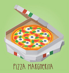the real pizza margherita italian pizza in box vector image