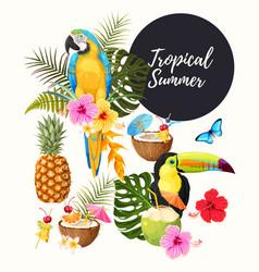 Tropical summer set vector