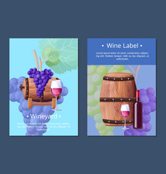 Vineyard and wine label on vector