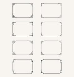 vintage set of calligraphic frames black and vector image