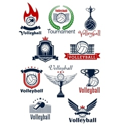 Volleyball tournament or team symbols vector