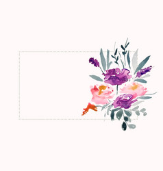 Watercolor flower decoration with text space area vector