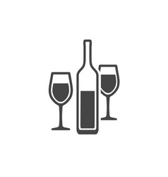 wine bottle and two wineglasses contour icon vector image