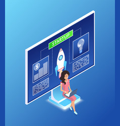 woman with laptop working on startup screen vector image