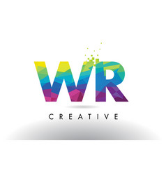 wr w r colorful letter origami triangles design vector image