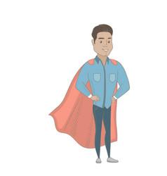Young hispanic businessman dressed as a superhero vector
