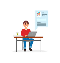 Young smiling man communicating on laptop computer vector