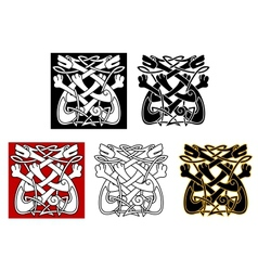 Celtic ornament with dogs and wolves vector image vector image
