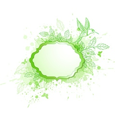 Green ecology banner with leaves and bird vector image