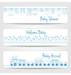 Hand drawn baby shower banners vector image vector image
