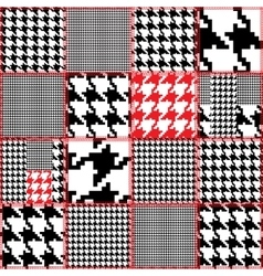 Patchwork with houndstooth ornament vector image