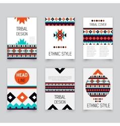 Set of geometric tribal colorful flyers brochure vector image vector image