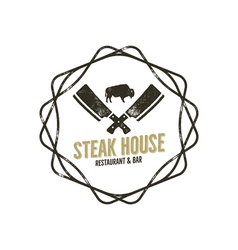 Steak House vintage Label with decoratiove vector image