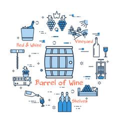 blue round banner - barrel of wine vector image