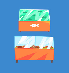 fish products refrigerators seafood in vector image vector image
