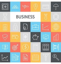 Flat Line Art Modern Business Icons Set vector image vector image
