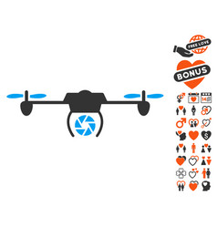 shutter spy airdrone icon with love bonus vector image vector image
