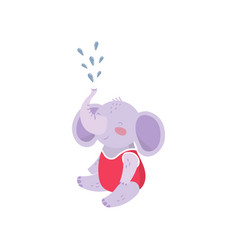 cartoon baby elephant sitting and spraying water vector image