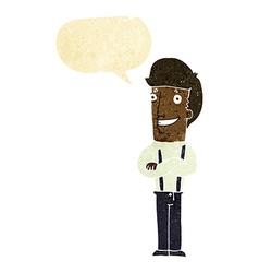 Cartoon proud man with speech bubble vector