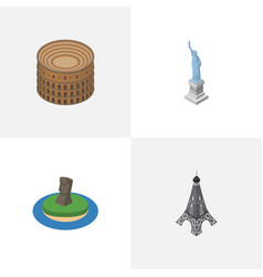isometric travel set of new york chile paris and vector image
