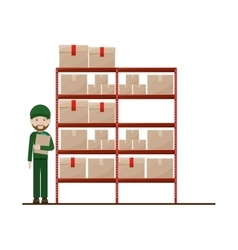 Red shelves with sealed package and dispatcher vector