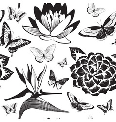 Black and White Seamless Pattern with Flowers and vector image