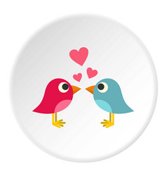 blue and pink birds with hearts icon circle vector image vector image