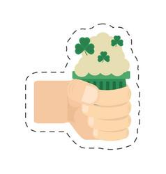 Cartoon hand holding green glass beer st patricks vector