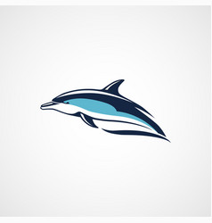 dolphin swims logo on white background vector image vector image