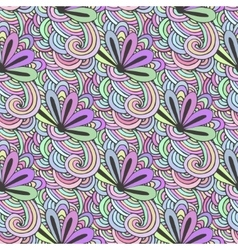 Doodle colorful pattern with flowers in vector image vector image