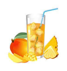 glass of fresh juice with ice cubes mango and vector image vector image