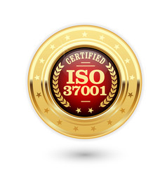 iso 37001 certified medal - anti bribery managemen vector image vector image