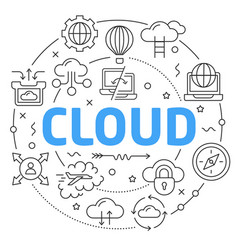 line flat circle cloud vector image vector image
