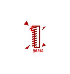 1 years anniversary celebration template design vector