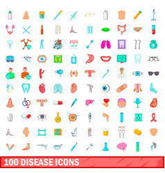 100 disease icons set cartoon style vector image