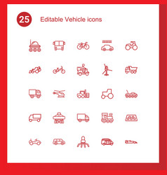 25 vehicle icons vector