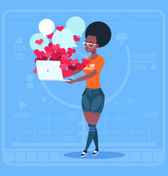 African american girl blogger hold computer vector